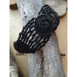 pulsera ancha negra espiral