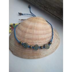 pulsera-tobillera espiral azul